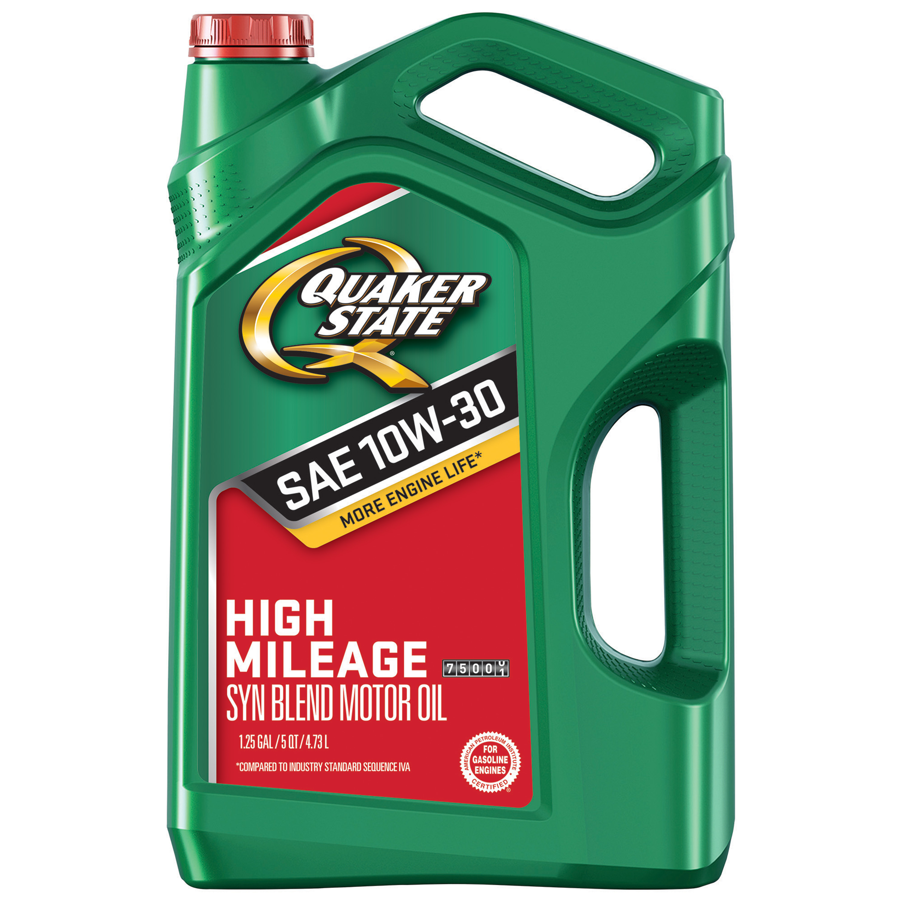 Quaker State High Mileage 10W-30 Synthetic Blend Motor Oil, 5 qt