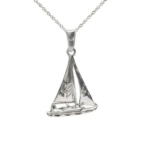 Sterling Catamaran Sail Boat Pendant Necklace, 18""