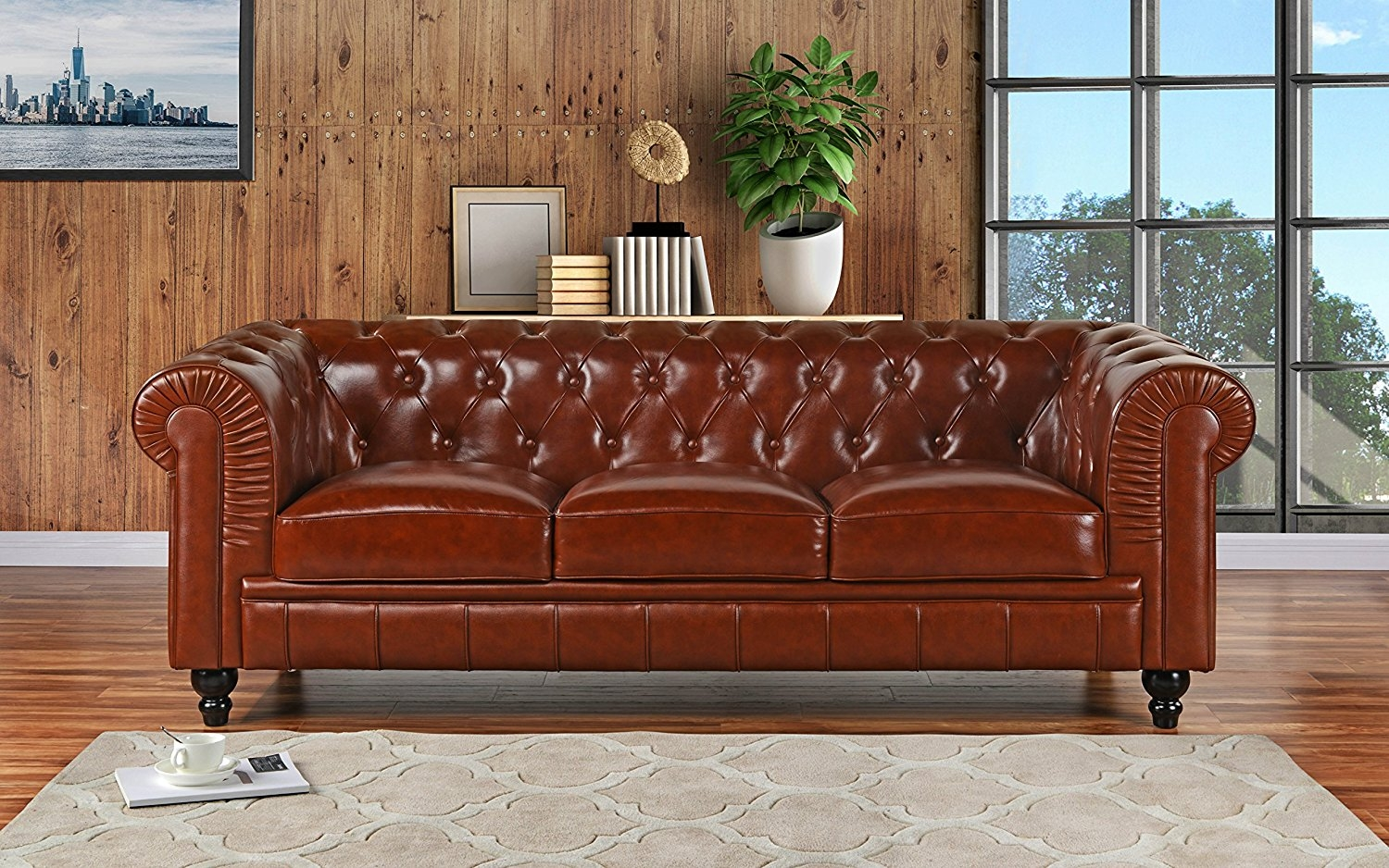 Classic Scroll Arm Real Leather Chesterfield Sofa (Light Brown)