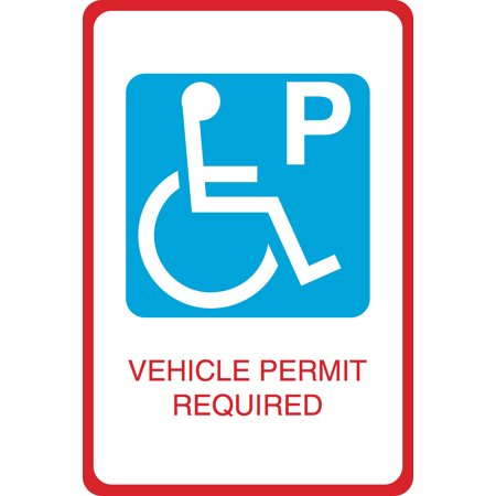 Aluminum Metal Handicap Symbol Parking Vehicle Permit Required Print Car Lot Large 12 x 18 Business Office Sign