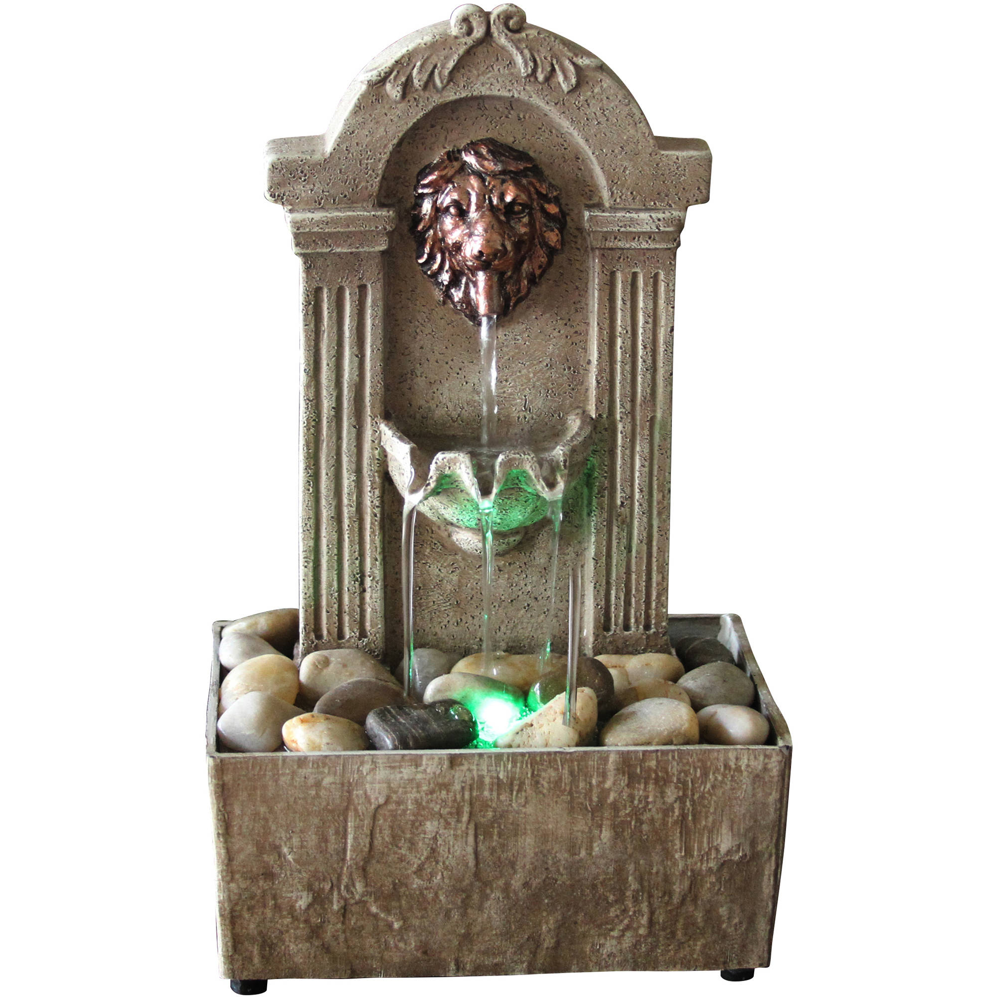Newport Coast Collection Traditional Lion Head LED Fountain by