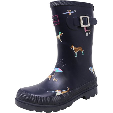 Joules Junior Welly Navy Rain Dogs Mid-Calf Rubber Shoe -