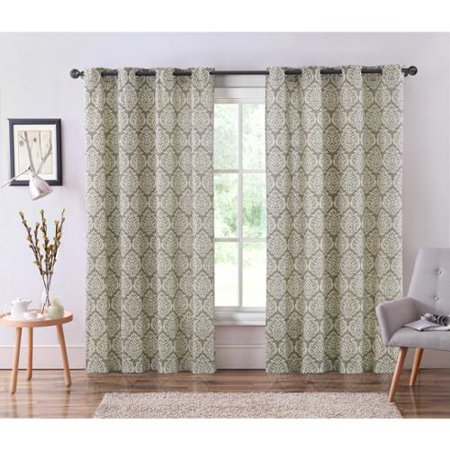 Vcny Bristol Grommet Top 84 Inch Ikat Curtain Panel Taupe