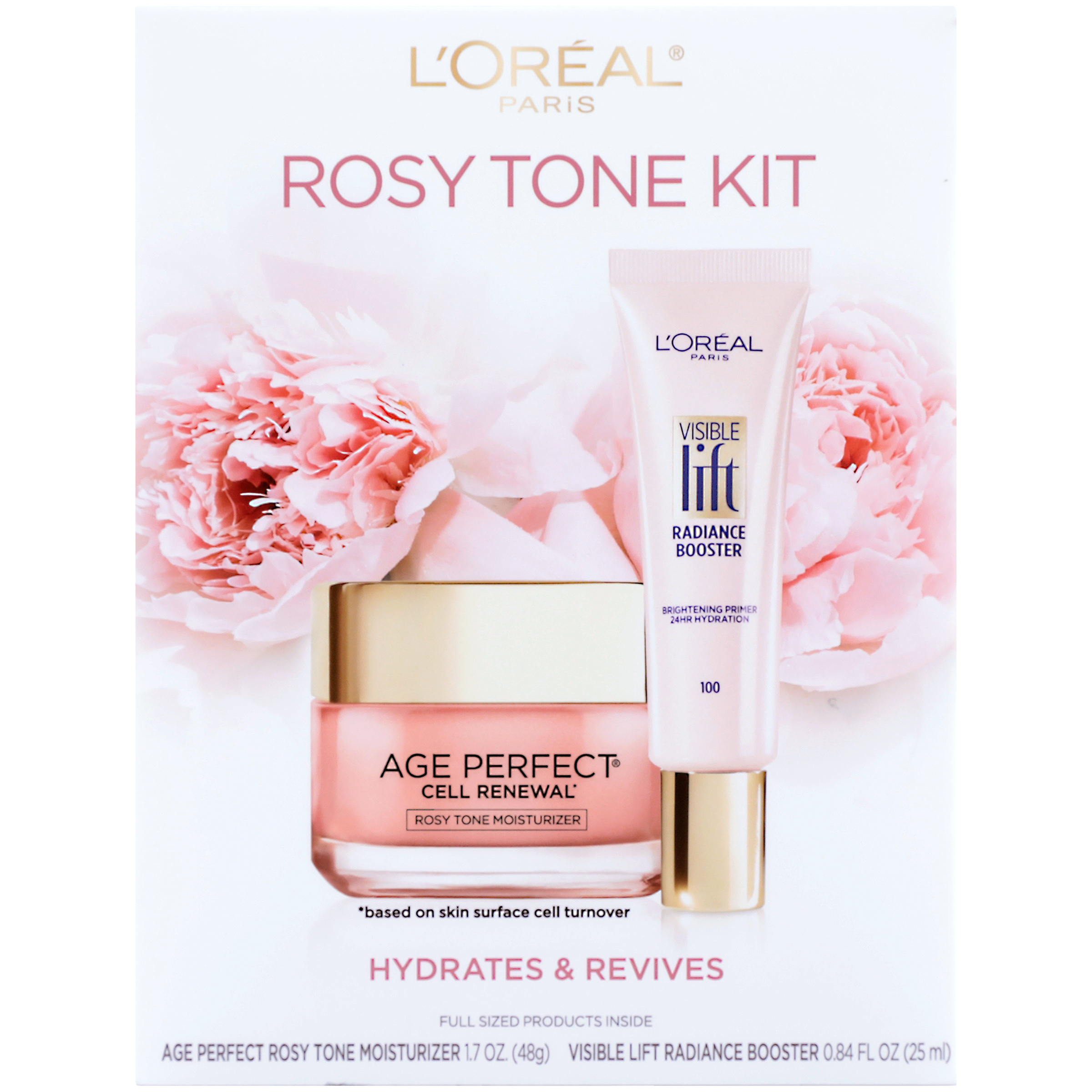 L'Oreal Paris Skincare Kit with Rosy Tone Moisturizer and Visible Lift