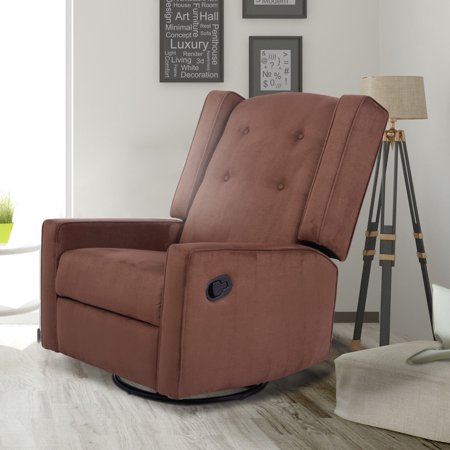 Costway Swivel Glider Recliner Sofa Chair Gliding Upholstered Nursery Room