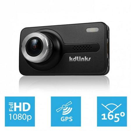 KDLINKS X1 Full-HD 1920*1080 165 Degree Wide Angle Dashboard Camera Recorder Car Dash Cam with GPS, G-Sensor & WDR Superior Night Mode, 1 Year Dashcam Warranty