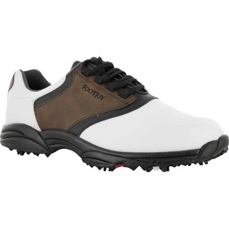 FootJoy Men's GreenJoys Spiked Golf Shoes, White/Brown/Black 45516. 14 (Best Price Footjoy Dryjoy Golf Shoes)