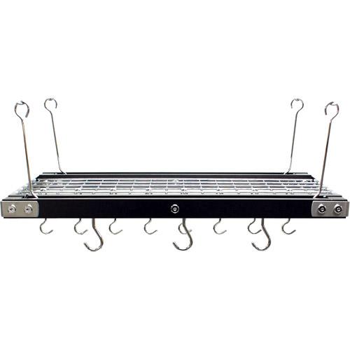 Range Kleen Hanging Pot Rack, Black-Finished Walnut and Stainless Steel