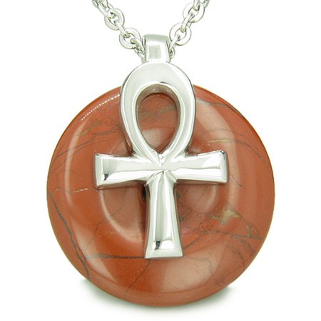 All Powers of Life Ankh Egyptian Amulet Red Jasper Lucky Donut Pendant 22 Inch Necklace