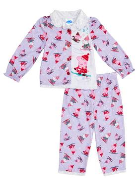 Peppa Pig Toddler Girls Holiday Coat Style Pajama, 2Pc Set