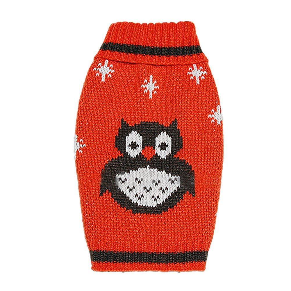 Zerotone Warm Cute Owl High-necked Sweater Automn Winter Clothes for Pet Dog Cat 2 Colors XS-M