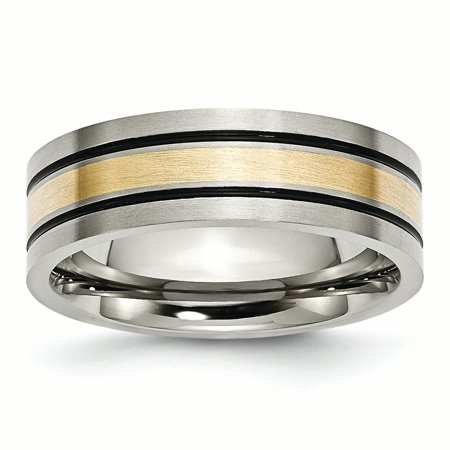 Titanium 14k Yellow Inlay Flat 7mm Brushed Wedding Ring Band Size 10.00 Precious Metal Fine Jewelry For Women Gifts For Her - image 1 de 10