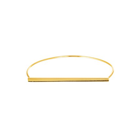 Women's Sterling Silver Gold-Plated Square Straight Bar Slip on Bangle