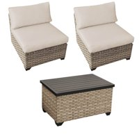 3 Piece Patio Furniture Set with 2 Armless Sofas in Beige and Outdoor Wicker Storage Coffee Table