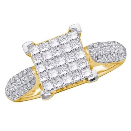 1.00 Carat (ctw) 10K Yellow Gold Princess & Round Cut White Diamond Ladies Bridal Invisible Set Engagement Ring 1 CT