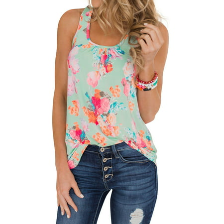 711ONLINESTORE Women Sleeveless Floral Print Swing Tunic Tank Tops(Zipper Back) ()