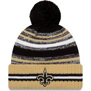 New Orleans Saints New Era Youth 2021 NFL Sideline Sport Pom Cuffed Knit Hat - Black/Gold - OSFA