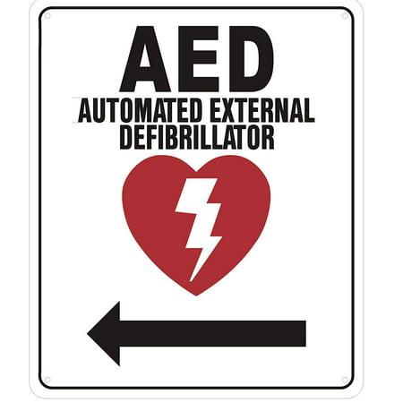AED AUTOMATED External DEFIBRILLATOR (Arrow Left, Aluminium Reflective, White