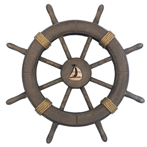 Handcrafted Nautical Decor Decorative Ship Wheel with Sailboat Wall Decor