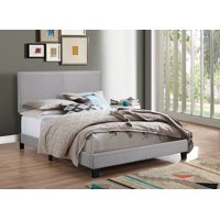 Crown Mark Erin Gray Upholstered Bed with Nail Head Trim, Queen
