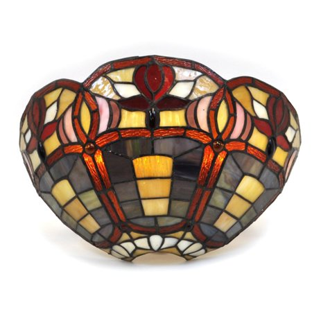 Stained Glass Half Moon Sconce with 3 Flowers ()