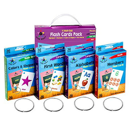 Star Right Flash Cards Set of 4 - Numbers, Alphabets, First Words, Colors & Shapes - Value Pack Flash Cards with Rings for Pre K - K - image 1 of 8