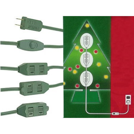 Westinghouse 9 Outlet Green Christmas Tree Extension Power Cord 9