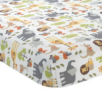 Lambs & Ivy Two of a Kind 100% Cotton Noah's Ark Theme Baby Fitted Crib Sheet