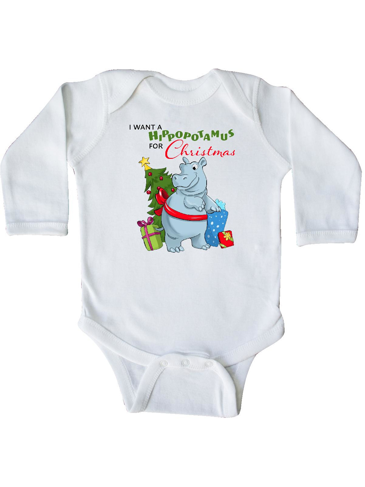 I Want a Hippopotamus for Christmas Long Sleeve Creeper - Walmart.com