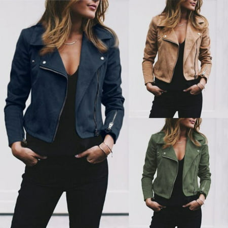 Casual Fashion Populat Flight Leather Cool Long Sleeve Jacket Tops for Women Lady Outwear Clothes
