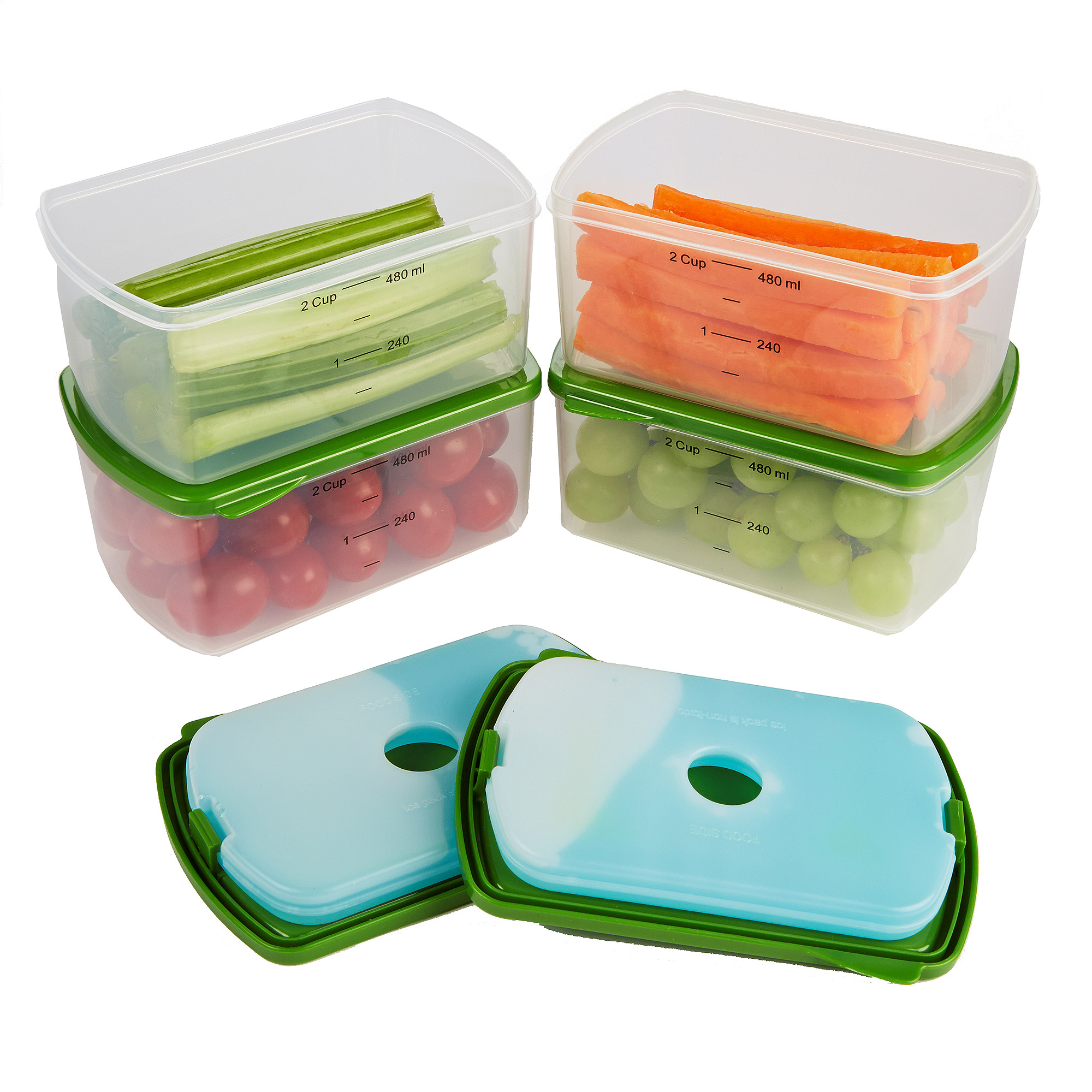 Fit and Fresh 4-Piece Salad Shaker with Removable Ice Pack and Dressing Dispenser