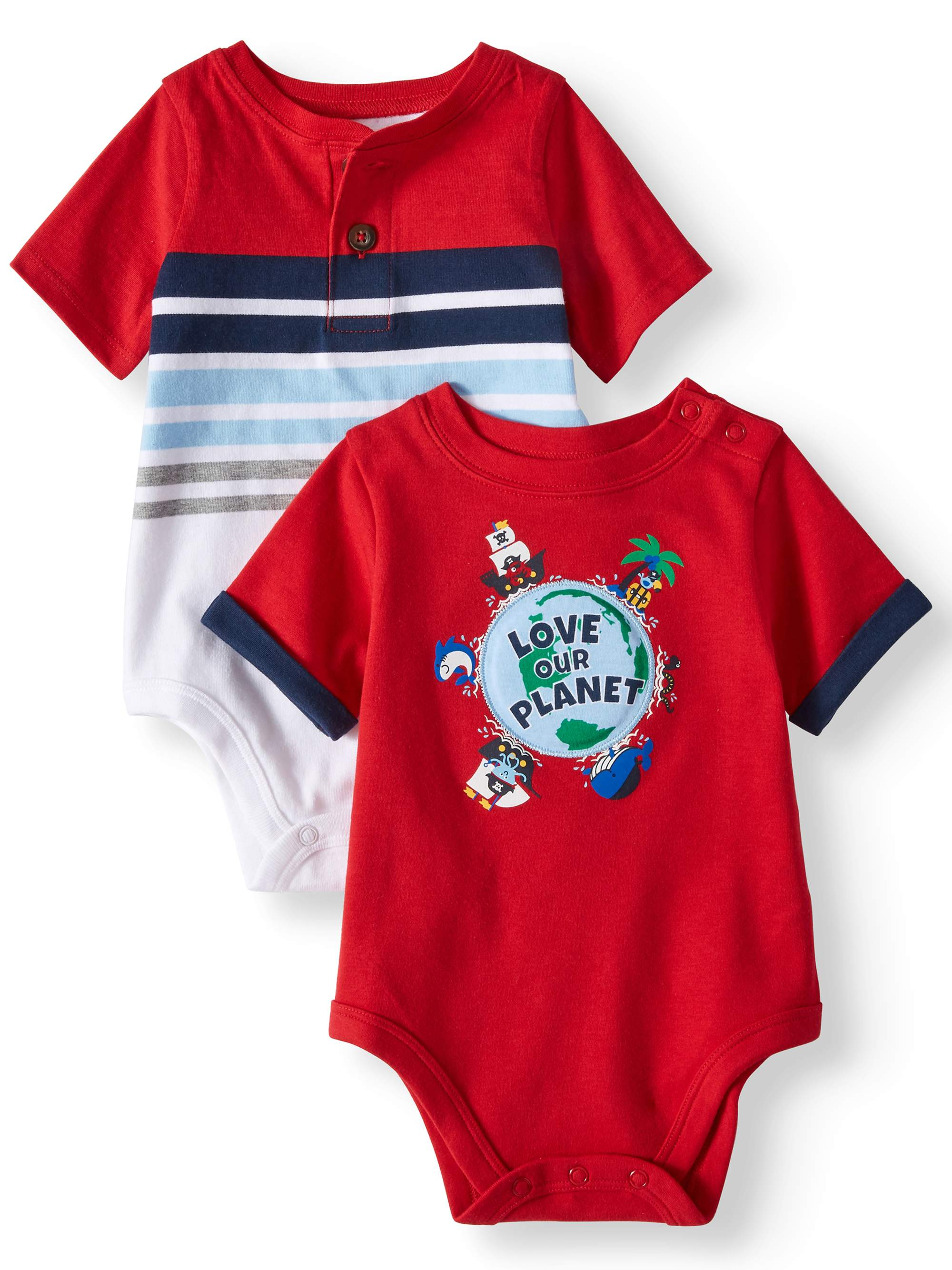 Baby Boys' Striped Henley and Graphic Bodysuits, 2-Pack