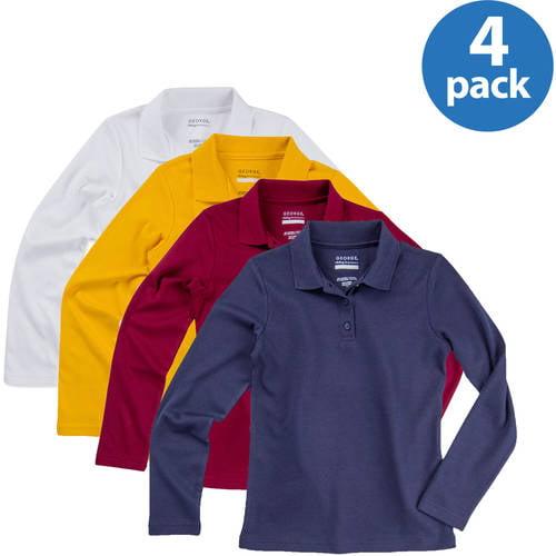 George Girls' School Uniforms Long Sleeve Polo Shirts, 4-Pack