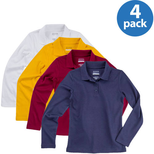George Girls' School Uniforms Long Sleeve Polo Shirts, 4-Pack