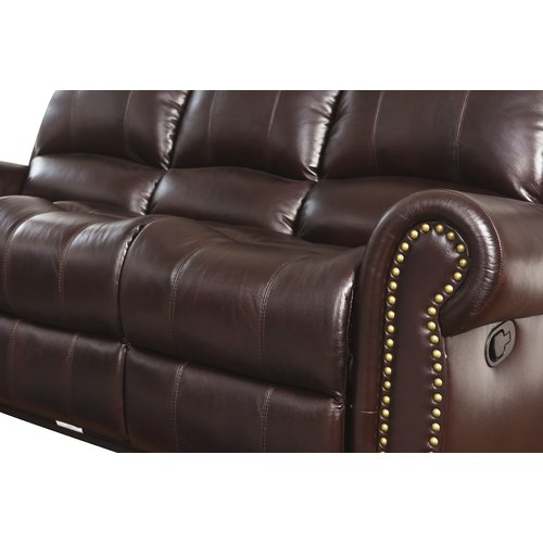 Darby Home Co Barnsdale Reclining Italian Leather Sofa And Loveseat Set In  Two Tone Burgundy