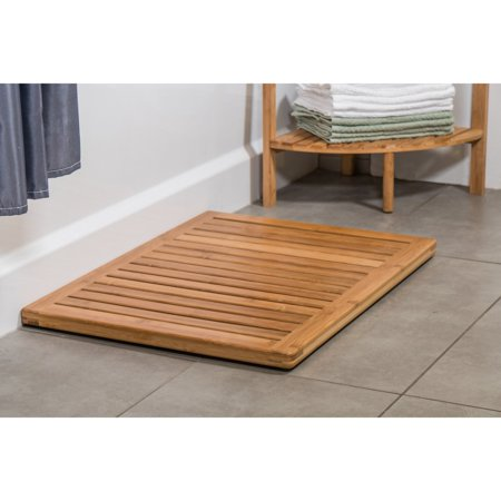 Canary Products Multi-Purpose & Versatile Elegant Brown Bamboo Bath or Floor Mat, 23.75 Inch Long