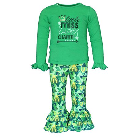 Girls 2 Piece Little Miss Lucky St Patrick's Day Outfit (18 Months) ()