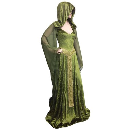 Anime Cosplay Costumes For Men (Fashion Women Halloween Medieval Maiden Cosplay Dress Lace-up Vintage Hooded Cloak Robe Costume Retro Cosplay Long Dress (Green -)