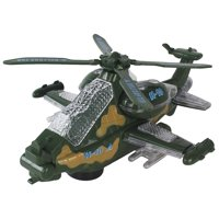 Battery Operated Light Up Bump & Go Toy Military Helicopter W/ Lights & Sounds