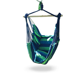 Hammock Chair Swing Seat for Indoor or Outdoor Spaces, S Hook & Rope Included, Blue & Green Stripes, 2 Seat Cushions,... by iCorer