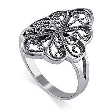 Gem Avenue Filigree Scrollwork Floral Design 925 Sterling Silver Ring - Filigree Design Cuff