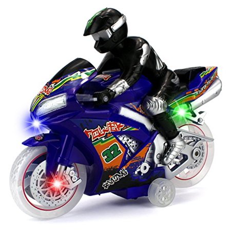 Super Racing Moto Children Kid's Toy Friction Motorcycle Vehicle w/ Lights, Sounds (Colors May Vary) - Kids Light Toys