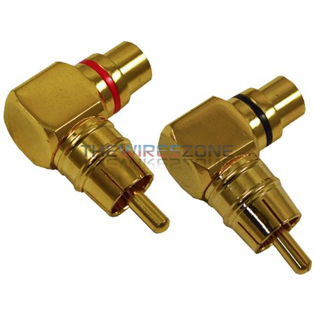 Male to Female Gold Audio RCA Right Angle Connector Plug Adapter (2/Pack)