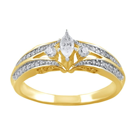 Marquise Cut White Natural Diamond Three Stone Engagement Ring In 10k Yellow Gold