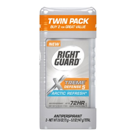 Right Guard Xtreme Defense 5 Antiperspirant Deodorant Invisible Solid Stick, Arctic Refresh, 2.6 Ounce (Pack of (Xtreme Stack)