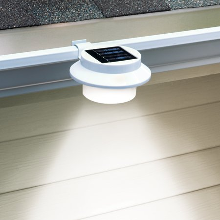 Solar Powered LED Gutter Safety Outdoor Light, Easy Install, White ()
