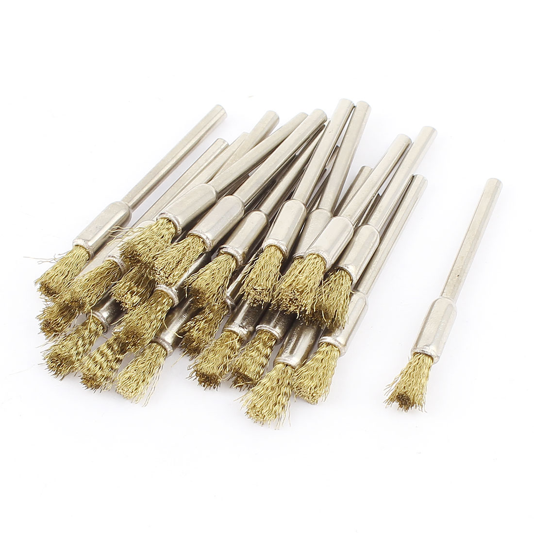 "1/8"" Round Shank Gold Tone Wire Pen Shaped Brushes Polishing Tool 22 Pcs"