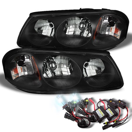 Fit 00 05 Chevy Impala Black Replacement Headlights 6000k White Hid