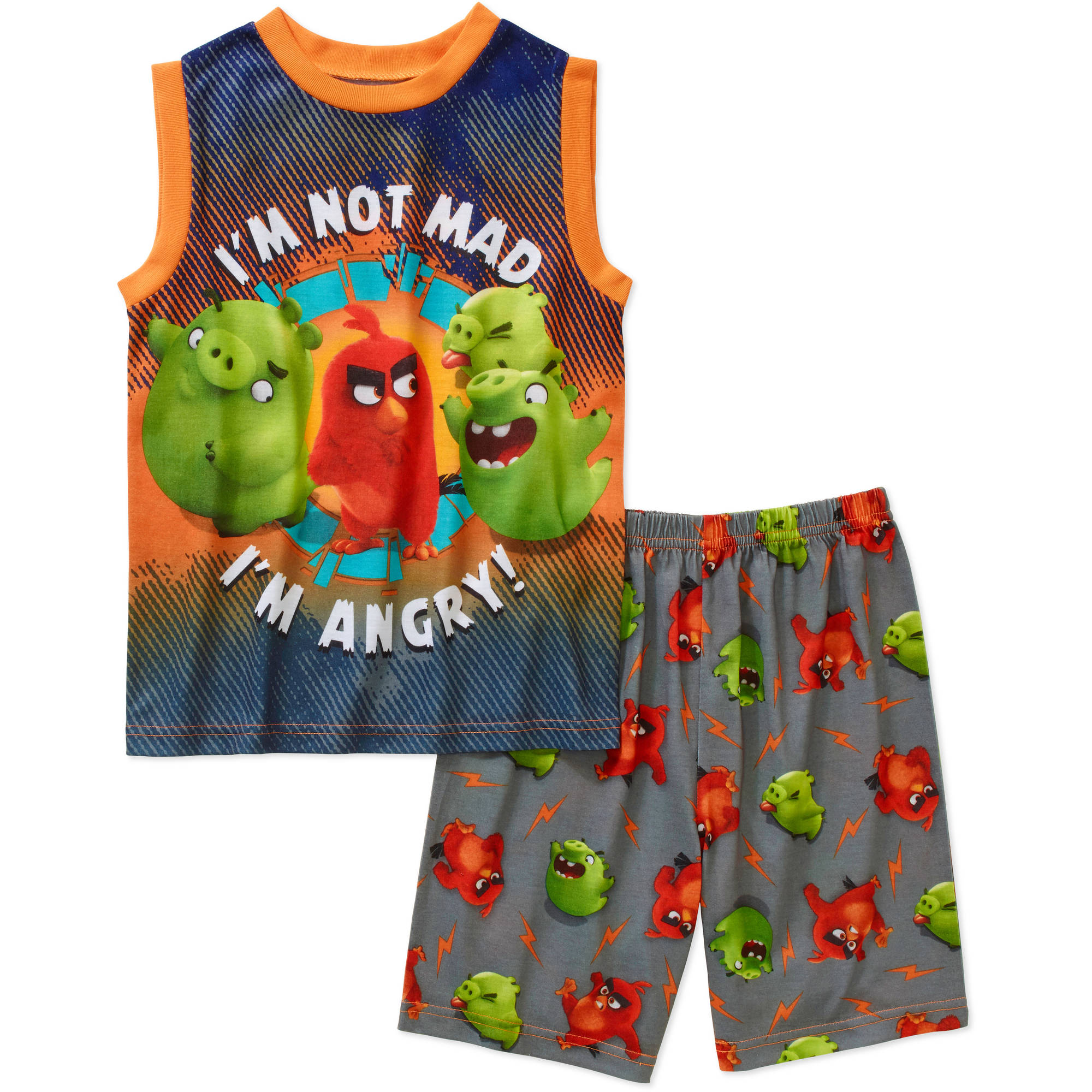 Angry Birds Boys' License Muscle Sleep Shirt and Shorts 2 Piece Pajama Set