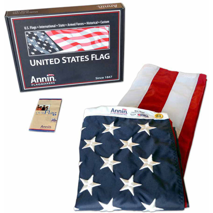 American Flag, 3' x 5', Nylon SolarGuard Nyl-Glo with Sewn Stripes, Embroidered Stars and Brass Grommets, Model# 2460